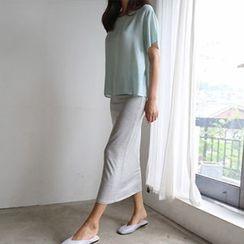 Hello sweety - Band-Waist Long Skirt
