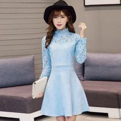 Dream a Dream - Long-Sleeve Lace Panel A-line Dress