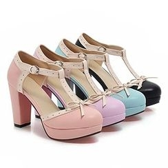 Sidewalk - Bow T-Strap Platform Pumps