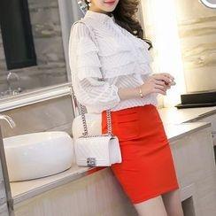 Sienne - Plain Pocketed Pencil Skirt