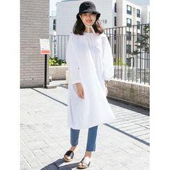 FROMBEGINNING - Puff-Sleeve Sheer Midi Shift Dress
