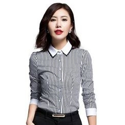 Aision - Long-Sleeve Striped Blouse