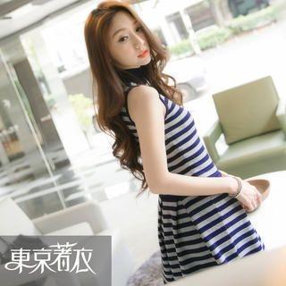 Tokyo Fashion - Sleeveless Striped Turtleneck Knit Dress