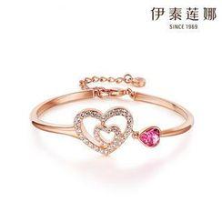 Italina - Swarovski Elements Crystal Heart Bangle