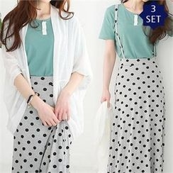 GLAM12 - Set: Open-Front Cardigan + Short-Sleeve T-Shirt + Dot-Pattern Suspender Long Skirt