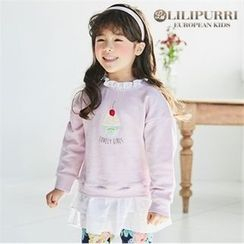 LILIPURRI - Girls Frill-Trim Illustration Pullover