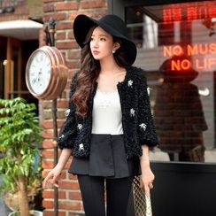 Dabuwawa - Rhinestone Fleece Cropped Jacket
