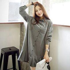 EFO - 長袖條紋饰褶襯衫連衣裙