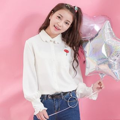 Moriville - Rose Frill Trim Long-Sleeve Blouse