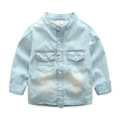 贝壳童装 - 儿童立领水洗牛仔衬衫