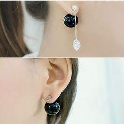 Gioia - Pearl Leaf Non-matching Through & Through Earrings