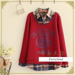 Fairyland - Inset Plaid Shirt Long-Sleeve Top