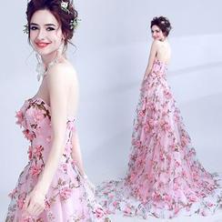 Angel Bridal - Strapless Flower Applique Prom Dress