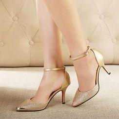 Monde - 拼接踝帶高跟鞋