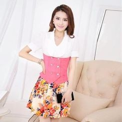 Mooiee - Set: Color-Block Blouse + Floral Pleated Skirt