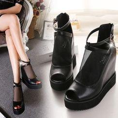 Monde - 网纱露趾厚底船跟靴