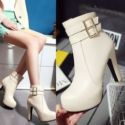 Shoes Galore - Buckled Chunky Heel Platform Short Boots