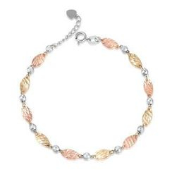 MaBelle - 14K/585 Tri-Color Gold Oval Segment with Ball Bracelet