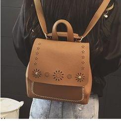 Merlain - Laser Cut Faux Leather Backpack