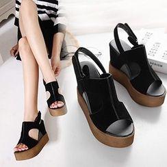 CITTA - Slingback Platform Wedge Sandals