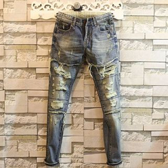 Sundipy - Washed Distressed Slim-Fit Jeans