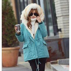REDOPIN - Faux-Fur Hooded Drawstring-Waist Jacket