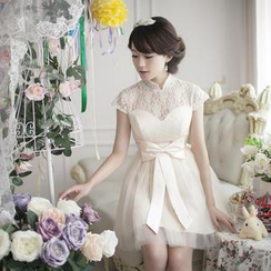 Fantasy Bride - Cap-Sleeve Mandarin Collar Mini Prom Dress