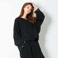 FASHION DIVA - Snap-Button Wide-Sleeve Pullover