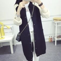 FR - Raglan Sleeve Snap Button Long Cardigan