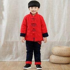 Emperial - 童裝: 中式領刺繡盤扣上衣 + 褲子
