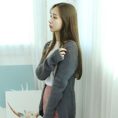 Dodostyle - Wool Blend V-Neck Ribbed Cardigan