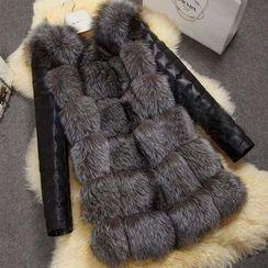KOTEN - Furry Trim Faux Leather Long Coat
