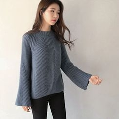 Hello sweety - Mock-Neck Bell-Sleeve Sweater