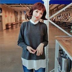 Styleberry - Inset Chiffon Blouse Round-Neck T-Shirt