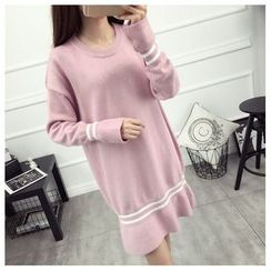 TIMI - Striped Long Sleeve Knit Dress