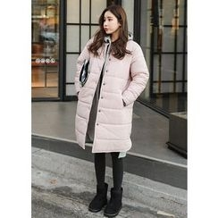 J-ANN - Snap-Button Padded Long Jacket