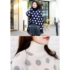 DEEPNY - Mock-Neck Polka-Dot Sweater