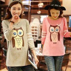 Aphrodite - Owl-Print Maternity T-Shirt