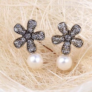 Supermary - Rhinestone Flower Beaded Studs