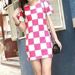 Yohana - Check Short-Sleeve Dress