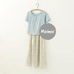 Meimei - Set: Short-Sleeve T-Shirt + Floral Long Skirt