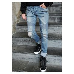 HOTBOOM - Distressed Blue Jeans