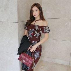 Babi n Pumkin - Capelet Floral Pattern Sheath Dress