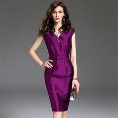Purple Rose - Cap Sleeve V-Neck Sheath Dress