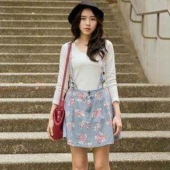 CatWorld - Floral Denim Suspenders Skirt