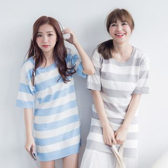 Tokyo Fashion - Short-Sleeve Slit-Side Striped Knit Tunic
