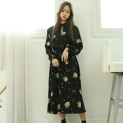 Dodostyle - Floral Patterned Tie-Waist Long Dress