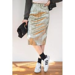 migunstyle - Band-Waist Metallic Skirt