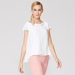 O.SA - Flutter-Sleeve Lace-Front Pleated Top