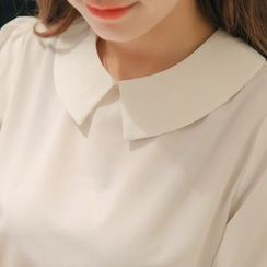 Bornite - Plain Short-Sleeve Blouse